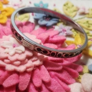 《Coach》Silver & Black Bangle Bracelet Monogram